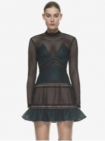 Sexy Europe Color Block Hollow Out Fishtail Lace Dress
