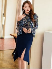 Lovely Sexy Off Shoulder Flowers Blouse with Split Midi Skirt