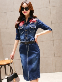 Quality Fashion Flowers Embroidery Shirt Collar Denim Slim Dress