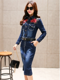 Autumn New Long Sleeve Flowers Embroidery Denim Shirt Dress