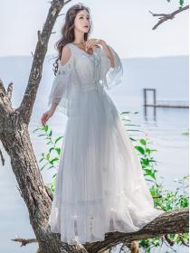 Chic Fashion Beadings Off Shoulder Elastic Waist Long Dress