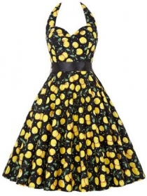 Europe Wholesale 2 Colors Printings Halter A-line Dress