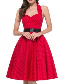 Classic Fashion Mini Dots High Waist Halter Dress