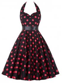 Wholesale Europe Tying Waist Backless Dots Dress