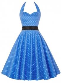 Europe Wholesale 2 Colors Mini Dots Halter A-line Dress