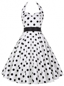 Retro Fashion 2 Colors Backless Dots Printing A-line Dress