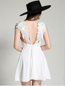 Sexy Women Fashion 2 Colors Angel Wings Backless Straps Dress