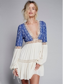Europe Sexy Hollow Out V-neck Embroidery Long Sleeve Dress