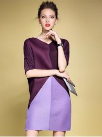 Elegant Fashion Color Block Batwing Loosen Dress