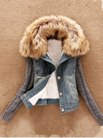 Winter New Fur Collar Flocking Knitting Sleeve Denim Jacket