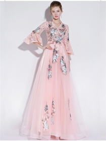 Grace Women 2 Colors Flowers Embroidery Gauze Prom Dress