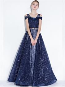 Nobel Women Fashion High Waist Beads Prom Dress