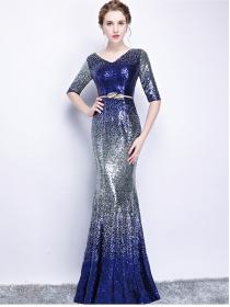 Grace New Fashion V-neck Gradually Blue Fishtail Prom Dress