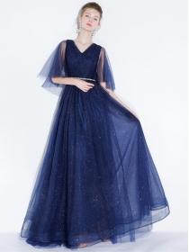 Brand Fashion V-neck Shining Gauze Fluffy Prom Dress