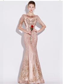 Nobel Women Rhinestone Collar Blingbling Fishtail Prom Dress