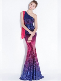 Eyes Catching Off Shoulder Sequins Fishtial Slim Prom Dress