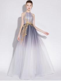 Fairy New High Waist Flowers Embroidery Gauze Maxi Dress