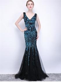 Grace Fashion V-neck Sequins Flowers Gauze Fishtail Prom Dress