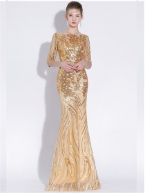 Quality Fashion Gilding Sequins Flowers Fishtail Prom Dress