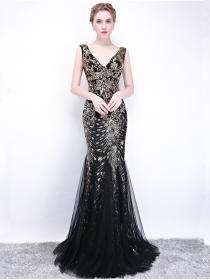 Charm Fashion Gilding Sequins Flowers Fishtail Maxi Dress