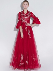 Europe New Flowers Embroidery Flare Sleeve Gauze Prom Dress