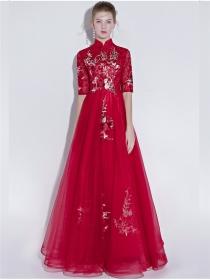 Retro Fashion Flowers Embroidery High Waist Fluffy Maxi Dress