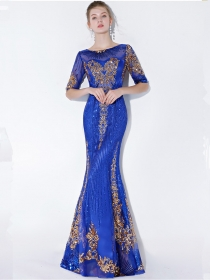 Elegant Fashion 2 Colors Sequins Flowers Embroidery Fishtail Dress