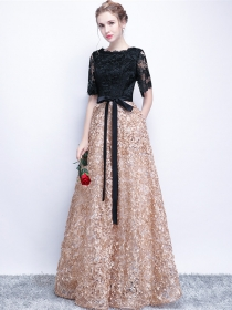 Boutique Fashion Bowknot Waist Lace Splicing Prom Dress