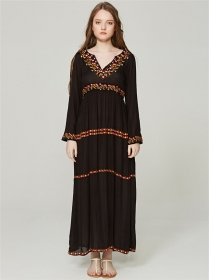 Retro Bohemia V-neck Flowers Embroidery Long Dress