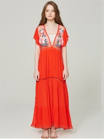 Sexy Fashion 2 Colors Gauze Flowers Embroidery Maxi Dress