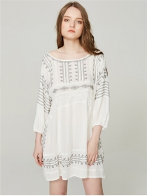 Partysu Fashion Flowers Embroidery Loosen Linen Dress