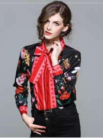 Stylish New Arrive Tie Bowknot Stars Flowers Blouse
