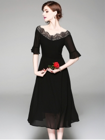 Europe Fashion Lace Boat Neck Flare Sleeve Chiffon Dress