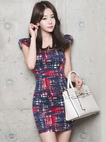 Fashion Cheap Round Neck Color Block Plaids Tank Dress