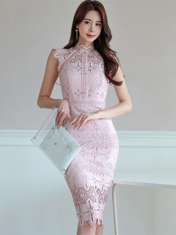 Grace Women Stand Collar Flowers Lace Skinny Dress