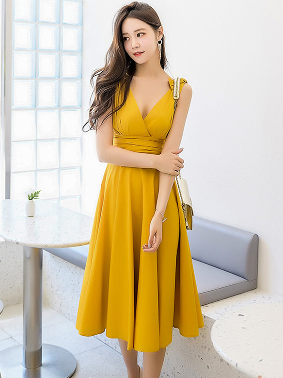 Sexy Fashion 2 Colors V-neck Pleated Waist Tank A-line Dress