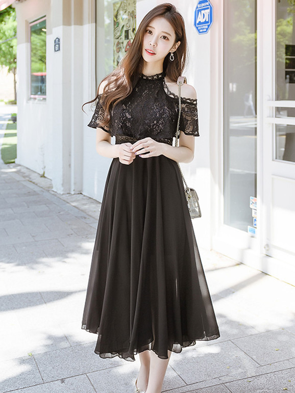 Hot Selling Lace Off Shoulder High Waist Chiffon Long Dress