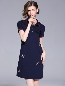 British Fashion 3 Colors Beads Dragonfly Shirt Dress
