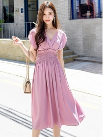 Charming Lady 2 Colors V-neck Ealstic Waist Flouncing Dress