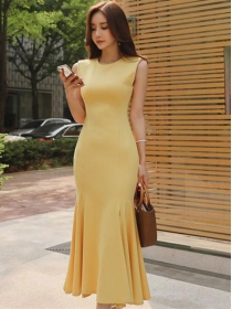 Summer Fashion Round Neck Fishtail Bodycon Tank Long Dress