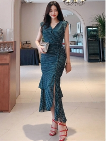 Fashion Summer Tie Waist V-neck Fishtail Long Dress