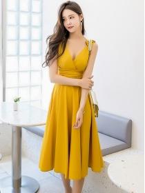 Sexy Fashion 2 Colors V-neck Pleated Waist Tank A-line Dress