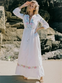 Bohemia Fashion Elastic Waist Flowers Embroidery Maxi Dress