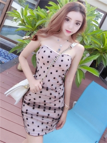 Lovely Sexy 3 Colors Gauze Dots Strapless Short Dress