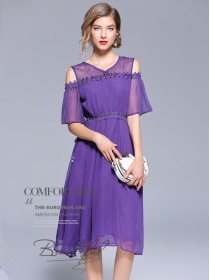 Modern Lady Off Shoulder Beads Lace Waist Silk Dress