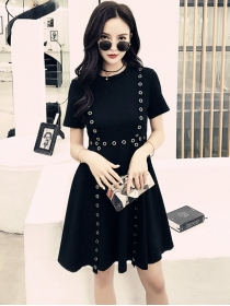 Chic Fashion Metal Rings High Waist Short Sleeve A-line Dress