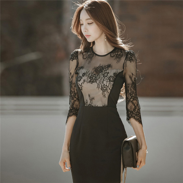 Korea OL Fashion Lace Flowers Splicing Bodycon Dress