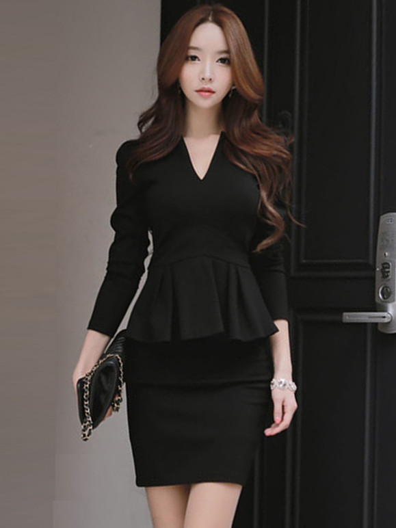 Wholesale Korea 2 Colors V-neck Flouncing Cotton Dress