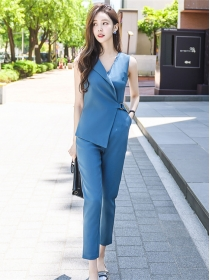 Brand OL Fashion V-neck Tie Waist Sleeveless Long Jumpsuits