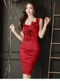 Sexy OL Tie Bowknot Bust Pleated Skinny Straps Dress